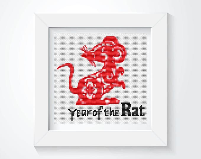 Mini Cross Stitch Kit, Embroidery Kit, Art Cross Stitch, Year of the Rat (TAS113)