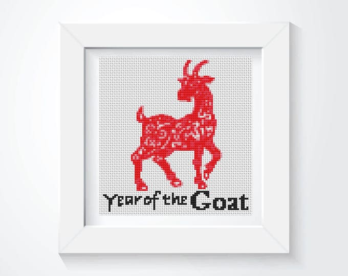 Mini Cross Stitch Kit, Embroidery Kit, Art Cross Stitch, Year of the Goat (TAS120)