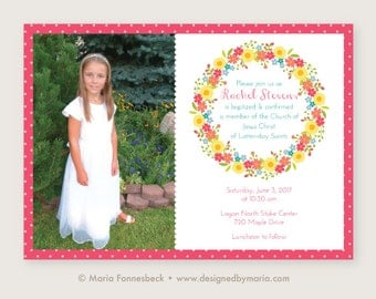 LDS Girl Baptism Invitation - Baptism Announcement: Bright and Cheery Floral Wreath Design