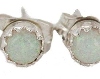 50 Retail Tag Authentic Karen McCray Navajo .925 Sterling Silver Opal Native American Stud Earrings 27231