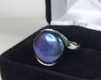 Gorgeous 13mm Black Pearl Ring Sterling Silver Size 6 8 9 10 Trending Jewelry Gifts June Mom Wife Fiance Solitaire Pearl AAA Arabesque Coin