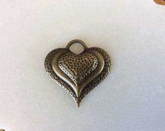Antique bronze heart charm pendants