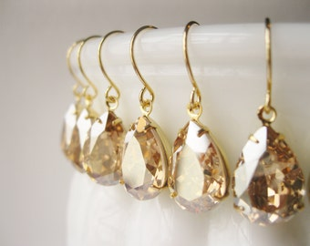 Set of 6 Pairs Gold Champagne Bridesmaid Earrings Vintage Style Crystal Teardrop Bridal Champagne Wedding Swarovski Elements New Years Eve
