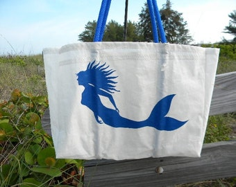 Blue Mermaid recycled sail cloth bag XLG tote
