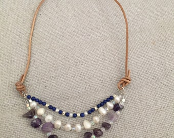 Pearl,lapis and amethyst necklace