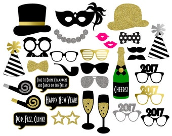 2017 New Year's Photo Booth Props . Printable . Instant Download . DIY . Black, Gold Glitter, Silver Glitter . New Year's Eve Party
