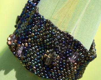 Asymmetrical,Vintage, Charlotte Cut Seed Bead, Amethyst Bracelet, SOLD AS IS, Origonal, One Of A Kind, by Helen Jewelry, Cuff