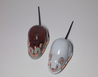VTG 1960's Pair of Tin Friction Mice By Toy Hero Japan New Old Stock