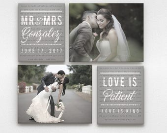 Mr and Mrs Wedding Vow Canvases with Scripture Reading - Love is Patient, Love is Kind