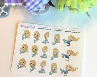 Blonde Mermaid 1 Sampler Stickers, Bible Stickers, Bible Journaling Stickers, Planner Stickers, Tab Stickers, Prayer Journa