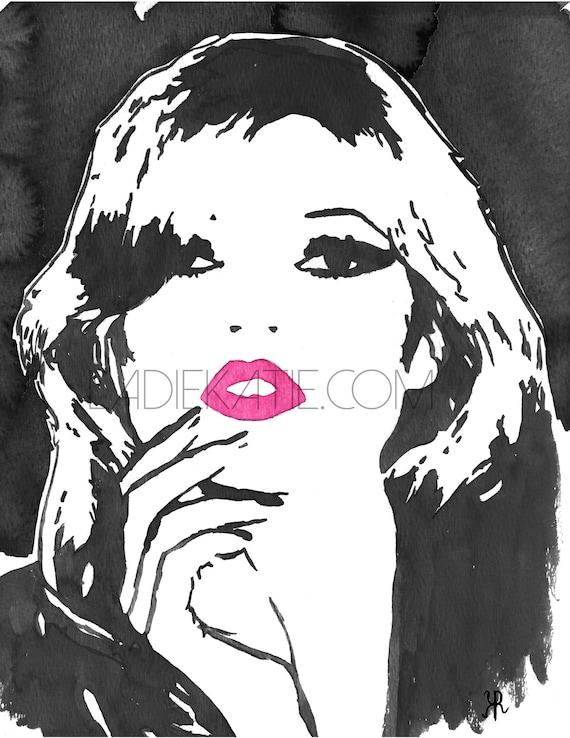 Kate Moss, fashion watercolor, gifts for her, fashion lover art, girly art, fashion print, girly decor, high fashion art,