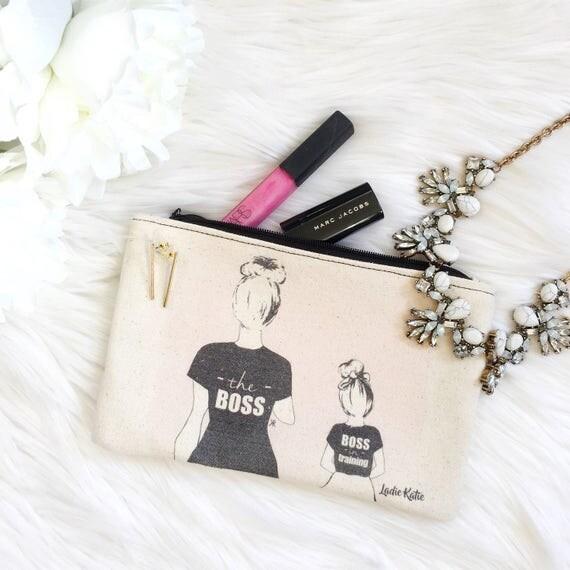 Mommy and me makeup bag, mother daughter makeup bag, boss makeup bag, momboss makeup bag, gifts for mom, mompreneur