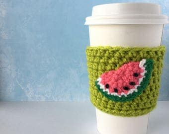 The One in a Melon Watermelon Drink Cozy (on green)