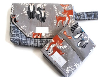 Woodland Forest Friends Diaper Clutch with Travel Changing Pad - New Mom Gift - Baby Accessories - Made to Order