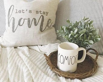 "let's stay home pillow, throw pillow, word pillow, phrase pillow, christmas gift - ""Let's Stay Home"""
