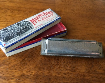 Antique Marine Band Hohner Harmonica No. 1896