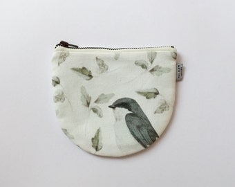 Bluebird Mini Pouch - Illustrated Coin Purse - Bluebird by Daniela Dahf
