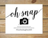 Oh Snap Wedding Sign // Wedding Hashtag Printable // Wedding Sign Printable, Instant Download