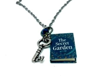 The Secret Garden Necklace mini book journal pendant Handmade Gift