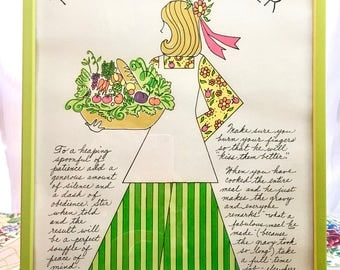Vintage Art Kitchen Dining Room 1960s. Chef's Helper Girl Hand-Drawn Graphics in Lime-Green Frame. Adorable!