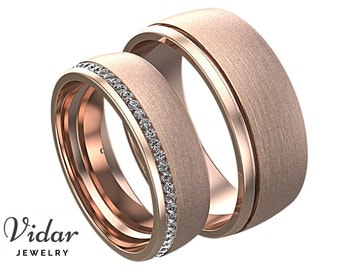 His and Hers Diamond Wedding Band Set,Unique Matching Wedding Rings,Unique Ring,Unique Matching Bands,Eternity,Brushed Rose Gold Ring Set