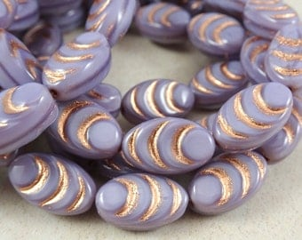 Czech Beads, Oval Beads, Czech Glass Beads - Lavender Silk with Copper (COC/N-1252) - 13x8mm - Qty. 6