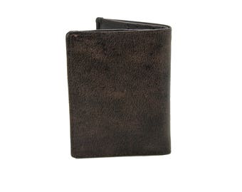 Mens Small Slim Bifold Genuine Leather Wallet Coins Brown Distress  9640