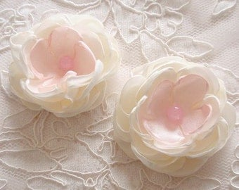 2 Handmade Singed Flower Fabric Flower Fabric Rose  (2.5 inches) In Cream and Lt Pink  MY-629-03 Ready To Ship