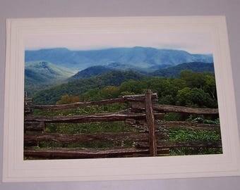 Split Rail Fence, Mountain Vista Photo Greeting Card - BLANK CARD