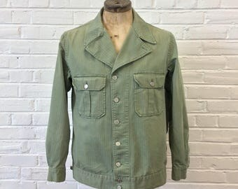 Vintage WWII US Army M-41 M-1941 Named HBT Jacket Shirt. Marked Size 42 Long
