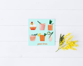 Friendship Card Friend Greeting Cocktails Drinks Alcohol Good Times Celebrate