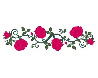 Rose Floral Embellishment Dress Edging Waistband Straps Embroidery Design