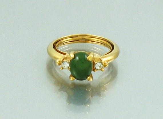 1976 Vintage Avon Oriental Jade Ring Original Box