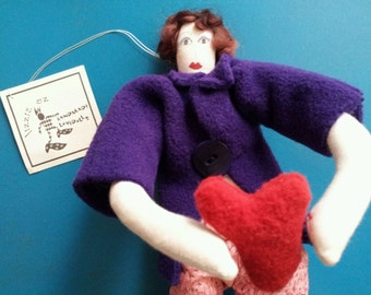 Whimsical Queen of the Heart * Handmade Mothers Day Love Blessing Doll Vintage One of a Kind Lizzie Oz * Unique Get Well Gift Folk Art Decor