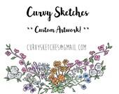 Custom Illustration - Curvy Sketches - VALENTINE DAY SALE!