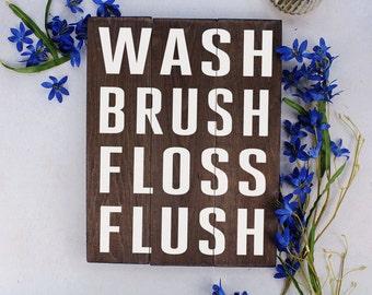 Kids Bathroom Art Wash Brush Floss Flush Bathroom Art Bathroom Sign Rustic Bathroom Decor Kids Bathroom Art Bathroom Wall Decor