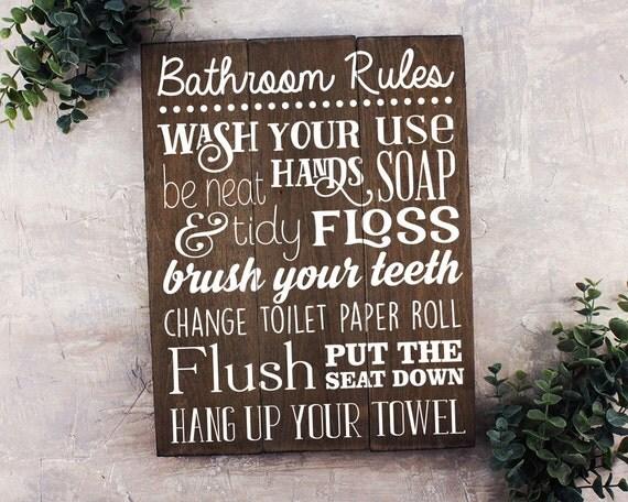 Bathroom Rules Sign Bathroom Rules Sign Rustic Kids Bathroom