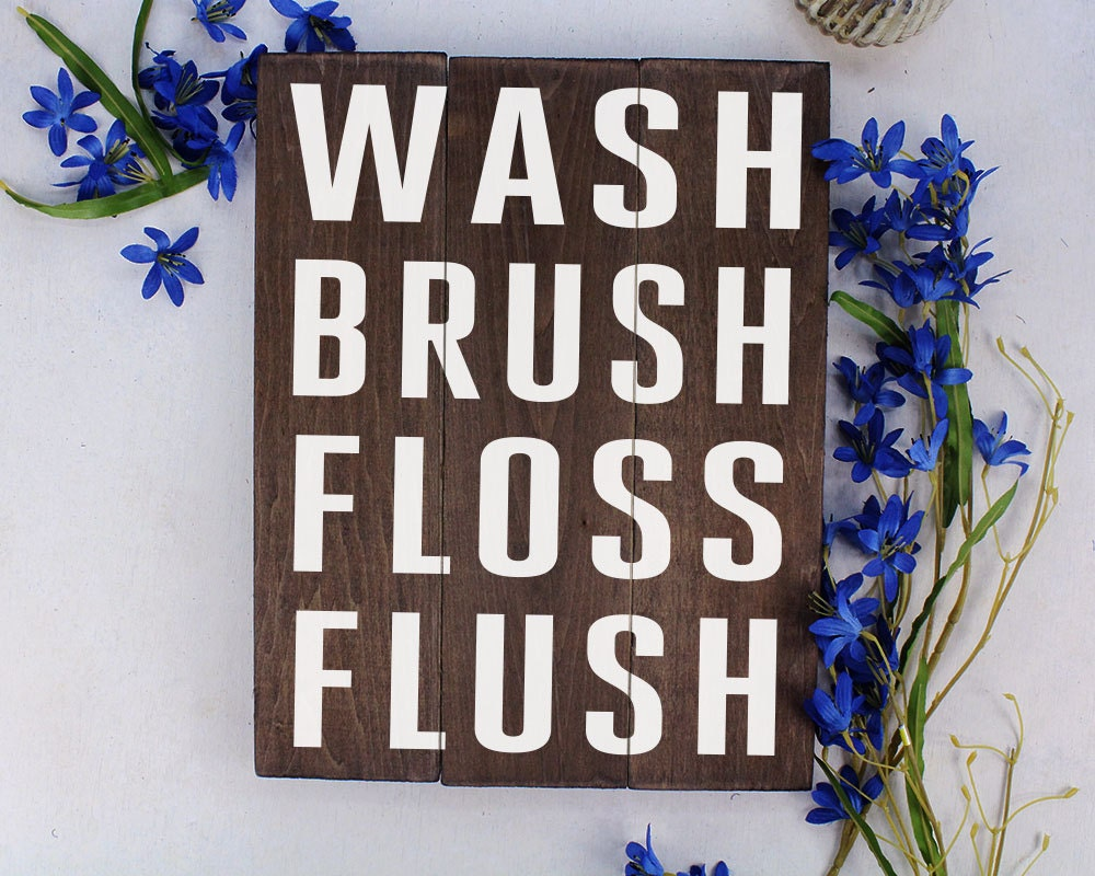 Kids Bathroom Art Wash Brush Floss Flush Bathroom Art Bathroom