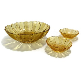 1960s Anchor Hocking Harvest Gold Country Estate * Serving Bowl and 2 Individual Bowls