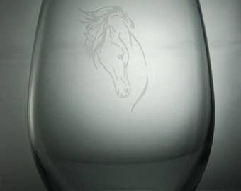 horse etched glass, etched wine glass, customized wine glasses, stemless wine glass, horse etched wine glasses, horse stemless wine