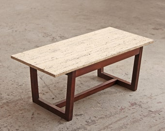 Small Travertine Coffee Table Mid Century Bench
