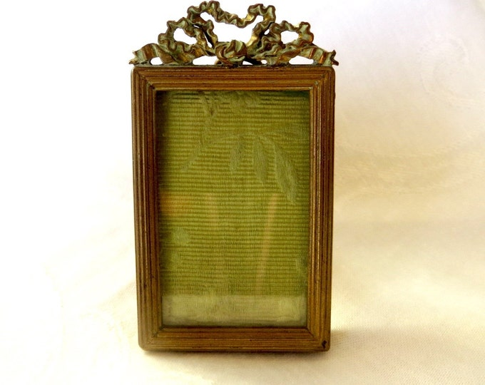 Antique French Ormolu Picture Frame, Petite Photo Frame, Louis XVI Style, Bronze and Brass, Vanity Desk Frame