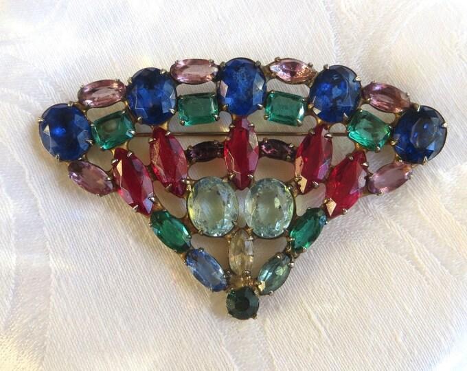 Rhinestone Fan Brooch, Large Fan Pin, Multicolor Rhinestones, Vintage Jewelry