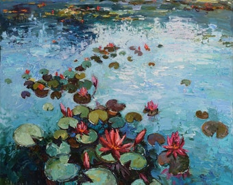 """Pink water lilies Oil painting  35.4"""" x 29.5"""" Contemporary, Fine art by Valiulina"""