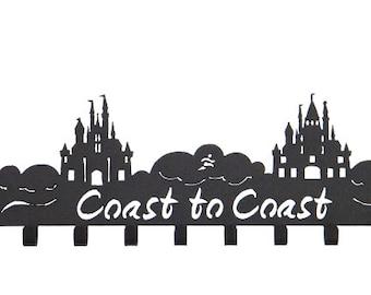 Medal Holder - Coast to Coast Running , 2 Castles, Medal hanger, Medal Hooks for runDisney medals.