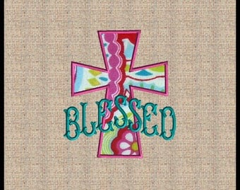 Cross Applique with Blessed Embroidery Design Cross machine embroidery design Easter Applique Embroidery Design with word Blessed