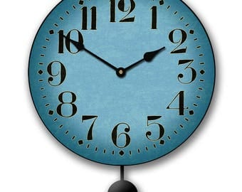 Houston Blue Pendulum Wall Clock