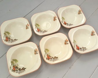 6 Horse Carriage China Bowls England