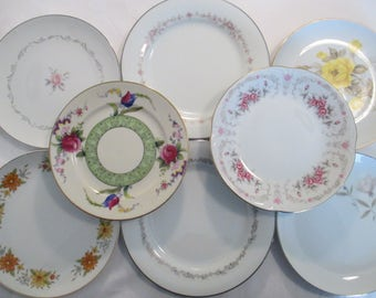 Vintage Mismatched China Salad Plates for Weddings,Tea Parties,Bridal Luncheons,Showers,Hostess Gift,Bridesmaid Gift - Set of 8