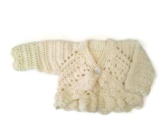 Soft alpaca wool baby sweater, cream lace baby cardigan, Christening Baptism baby bolero, baby girl shower gift present,  . 0-3 months.